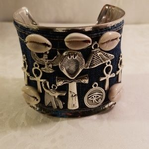 Denim cuff ancient Egyptian charms bracelet